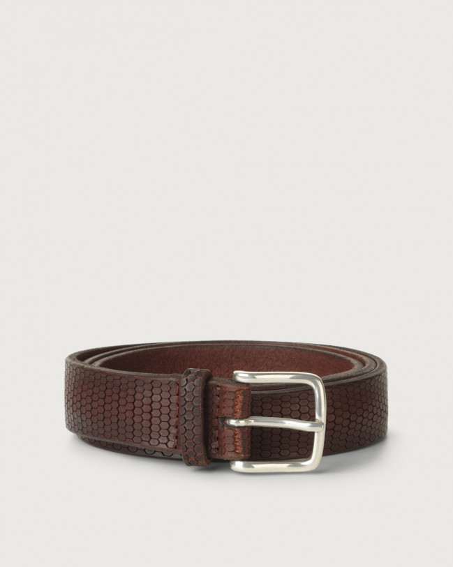 Orciani Bull Soft beehive pattern leather belt Leather Brown