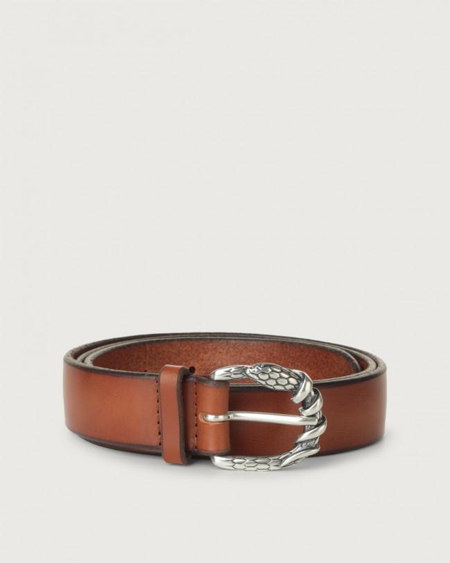 Orciani Bull Soft A leather belt 3 cm Leather Cognac