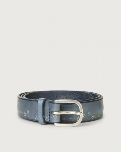 Stain Soapy leather belt with flower decoration