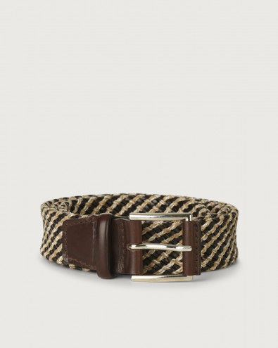 Square woven fabric and leather belt