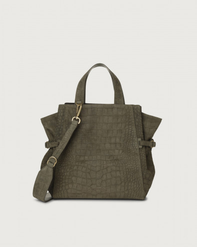 Fan Cashmere medium suede handbag