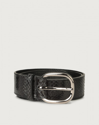 Diamond python leather belt with metal eyelets