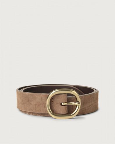 Cashmere croc-effect suede belt 3 cm