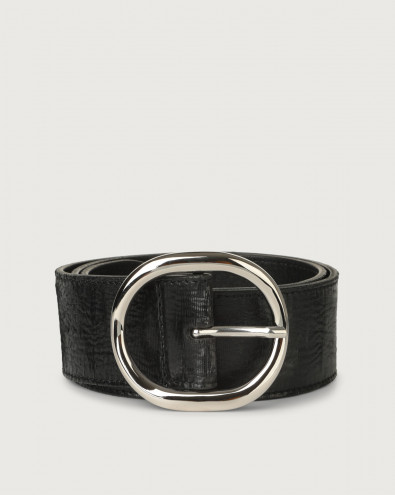 Cutting high-waist leather belt