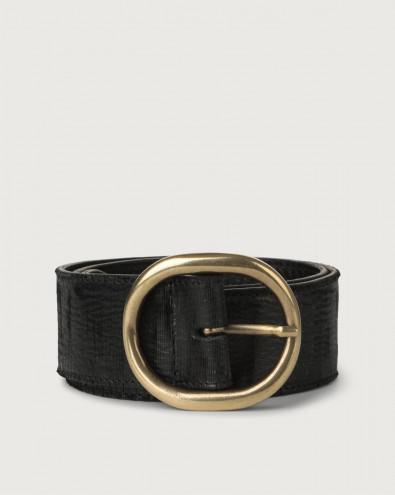 Cutting high-waist leather belt