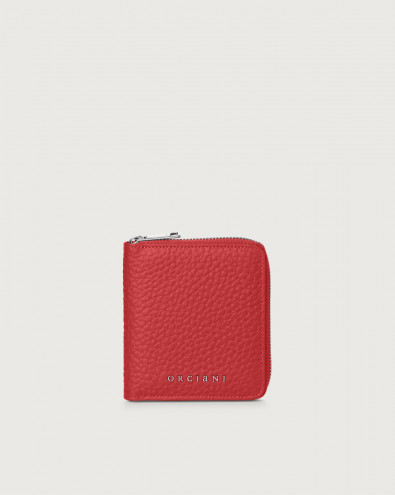 Soft small leather wallet with zip with RFID
