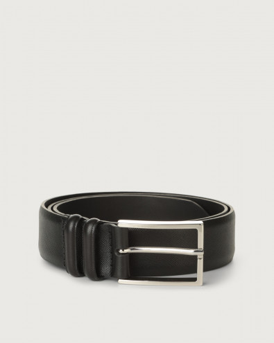 Basic Saffiano classic leather belt