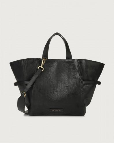 Fan Cutting medium leather handbag