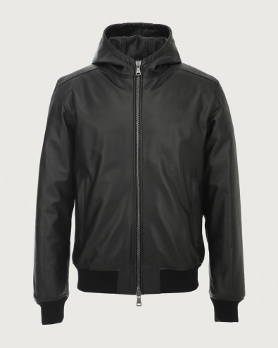 Nappa leather jacket with hood