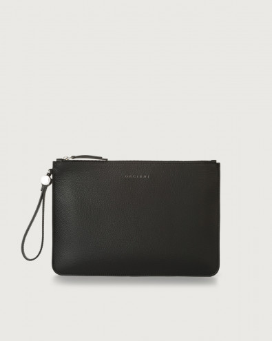 Micron large leather pouch with wristband