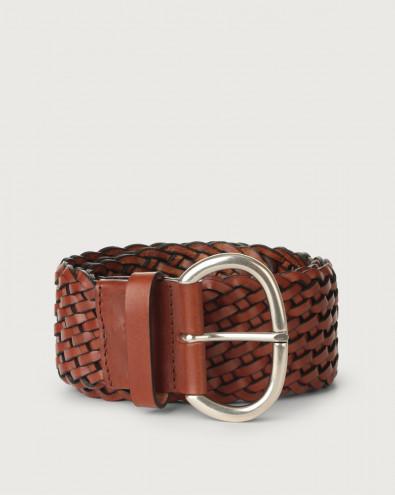 Masculine high-waist braided leather belt