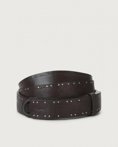 Frog leather Nobuckle belt with micro-studs