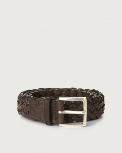 Chevrette braided nabuck leather belt