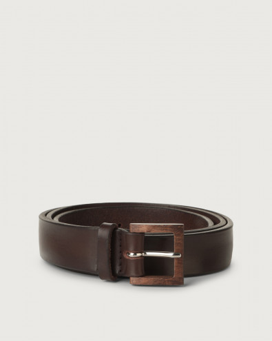 Bull Soft leather belt with wooden buckle 3 cm