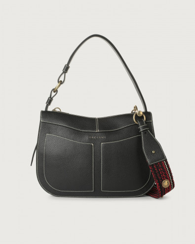 Ginger Fanty Black medium leather shoulder bag with strap