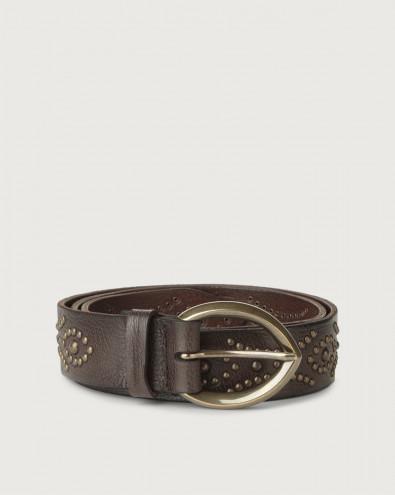 Chevrette leather belt with brass details