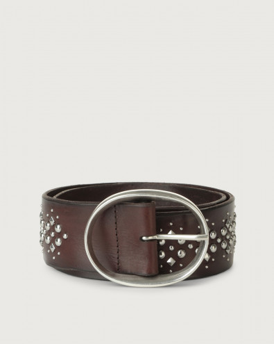 Chevrette high-waist leather belt with studs
