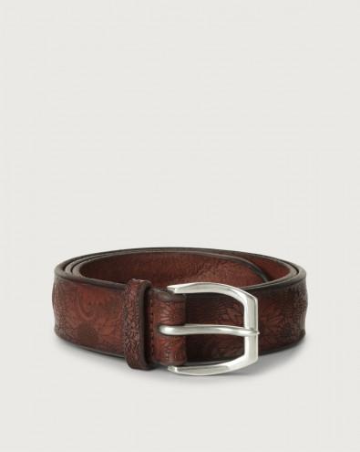 Bull Soft flower pattern leather belt