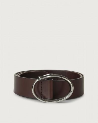 Bull leather belt with palladium buckle