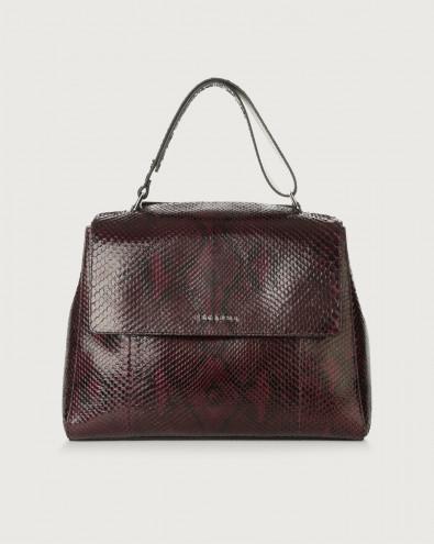 Sveva Diamond medium python leather shoulder bag with strap
