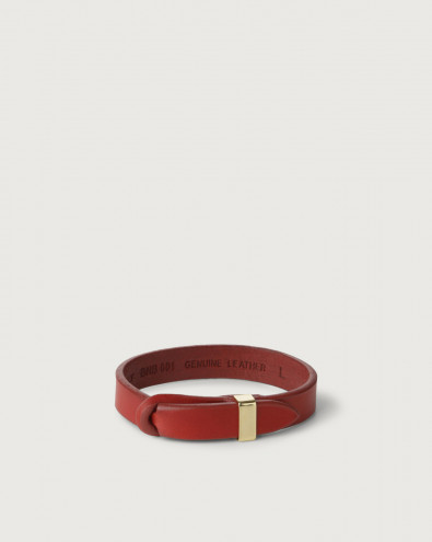 Bull leather Nobuckle bracelet with gold detail