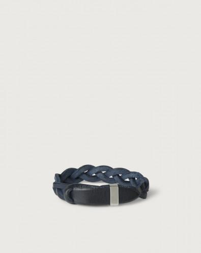 Walk leather Nobuckle bracelet with silver detail