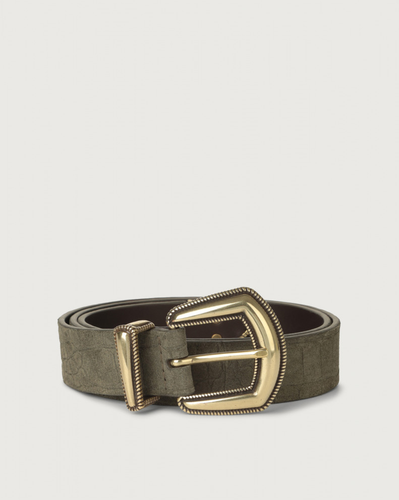 Cashmere croc-effect suede belt