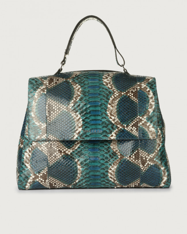 Orciani Sveva Naponos large python leather shoulder bag Python Leather Blue