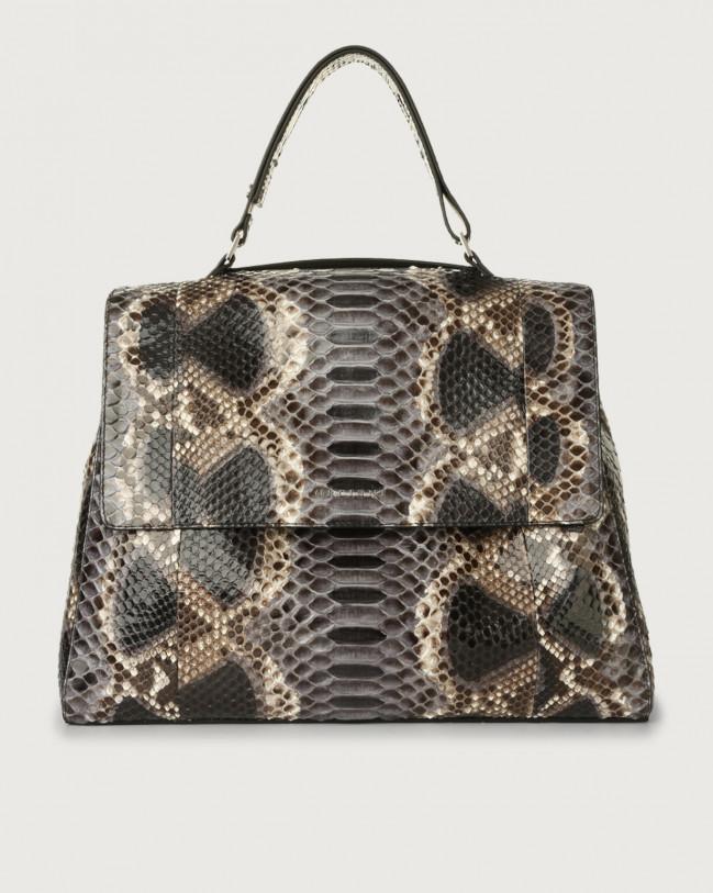 Orciani Sveva Naponos large python leather shoulder bag Python Leather Grey