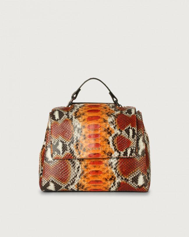 Orciani Sveva Naponos small python leather handbag Python Leather Orange