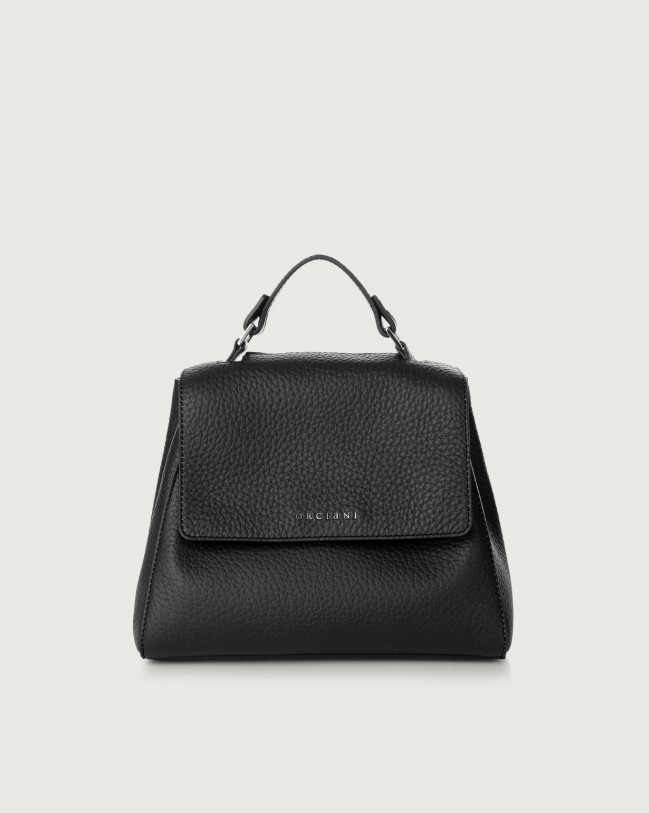 Orciani Sveva Soft small leather handbag with strap Leather Black