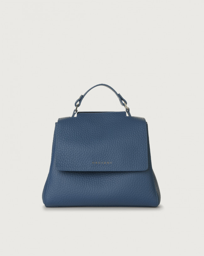 Orciani Sveva Soft small leather handbag with strap Leather Cobalt Blue