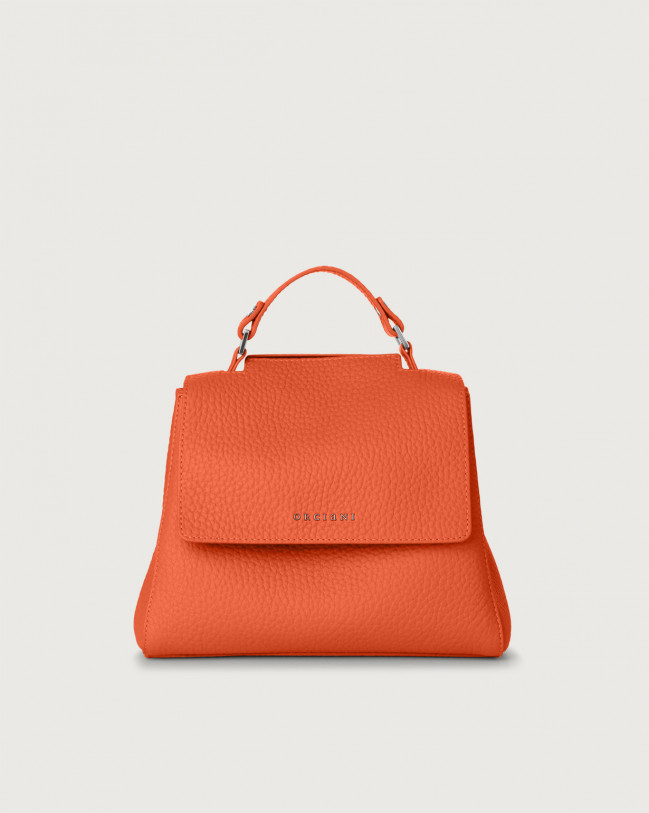 Orciani Sveva Soft small leather handbag with strap Leather Coral
