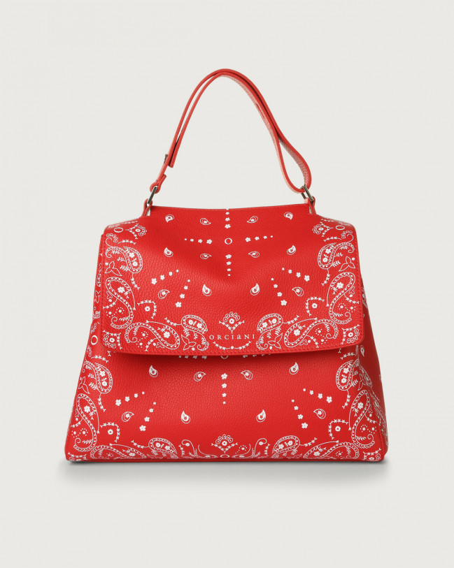 Orciani Sveva Bandanas medium leather shoulder bag Embossed leather Red