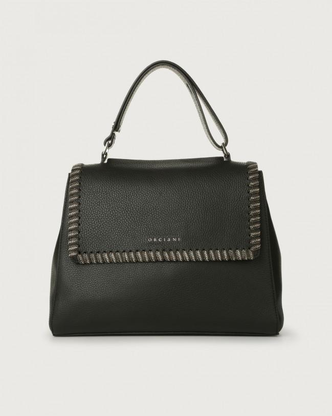 Orciani Sveva Chain medium leather shoulder bag Leather Black