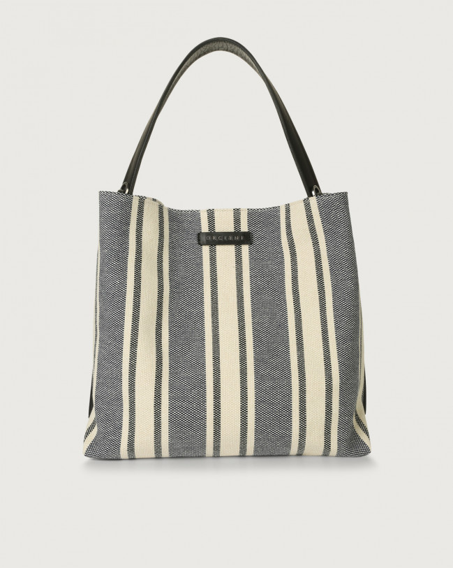 Orciani Jackie Canvas fabric and leather shoulder bag Leather & cotton Blue