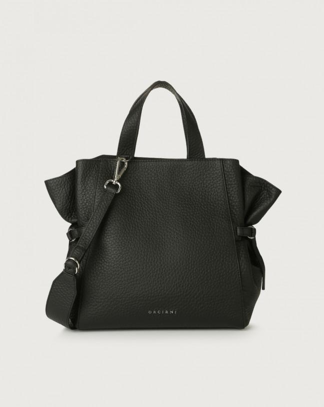 Orciani Fan Soft medium leather handbag Leather Black