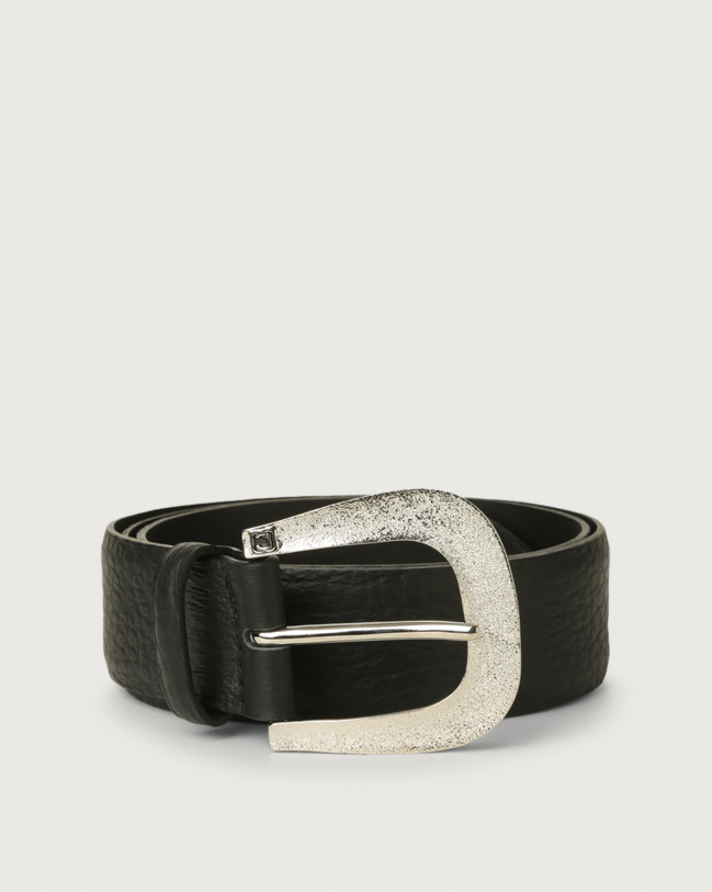 Orciani Soft leather belt 4 cm Black