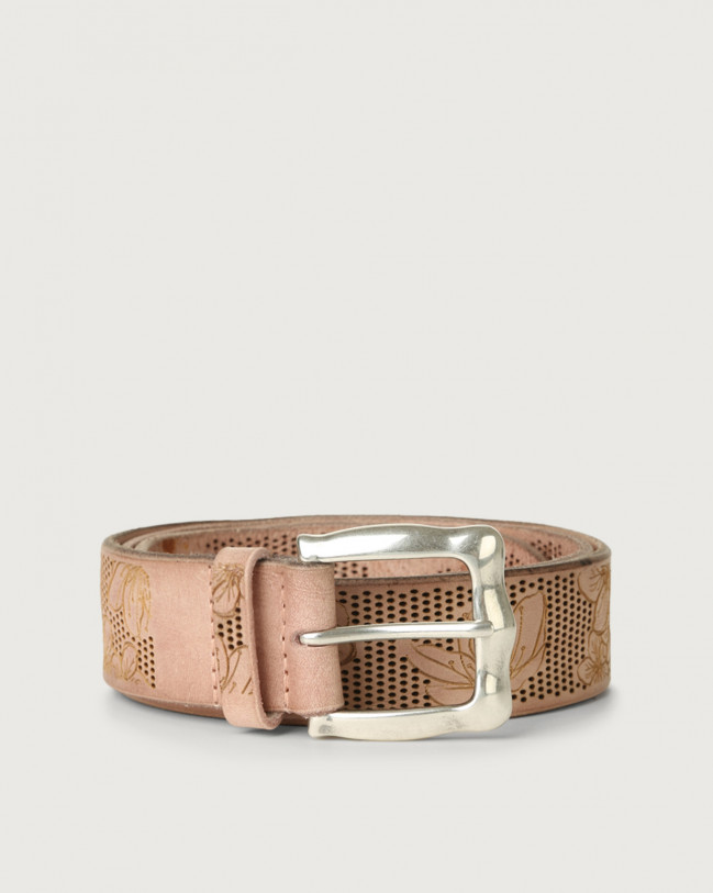 Orciani Stain leather belt with flower pattern Leather Pink
