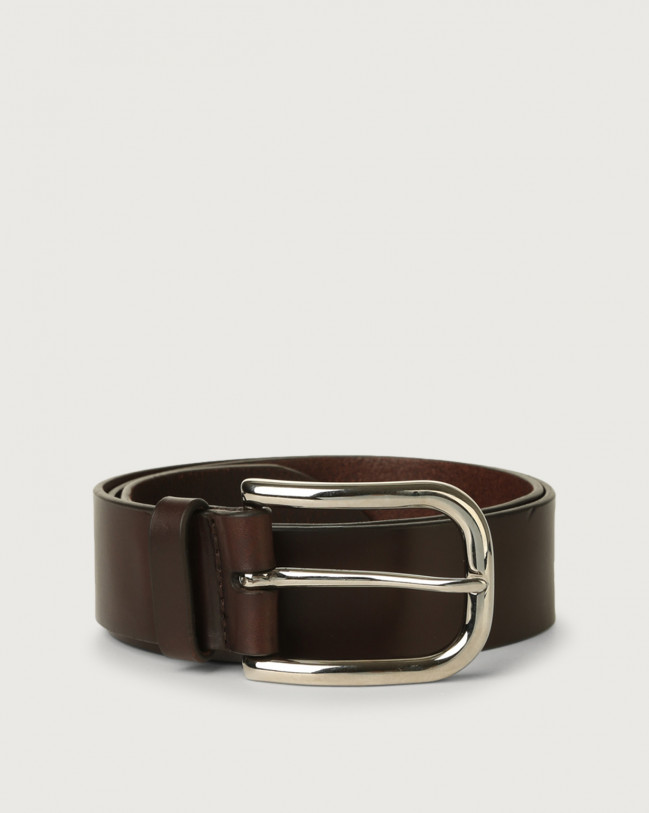 Orciani Bull leather belt with eyelets Leather Chocolate