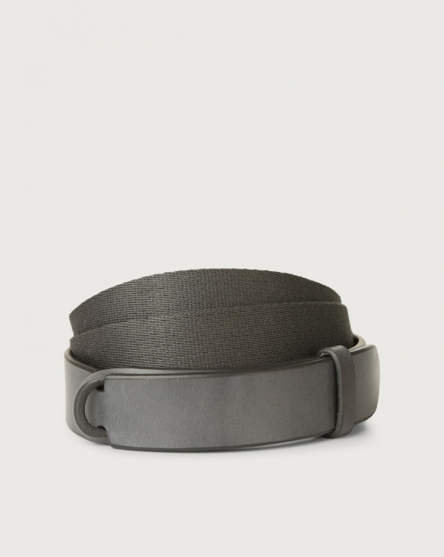 Orciani Leather and fabric Bull Nobuckle belt Leather & fabric Dark Grey