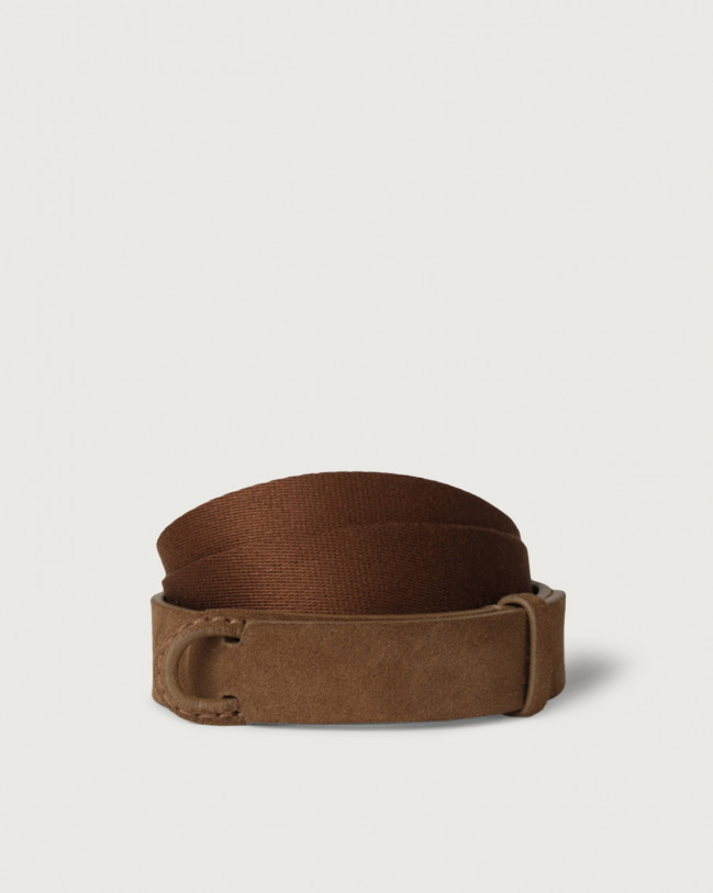 Orciani Suede and fabric Suede Nobuckle belt Canvas, Suede Burnt