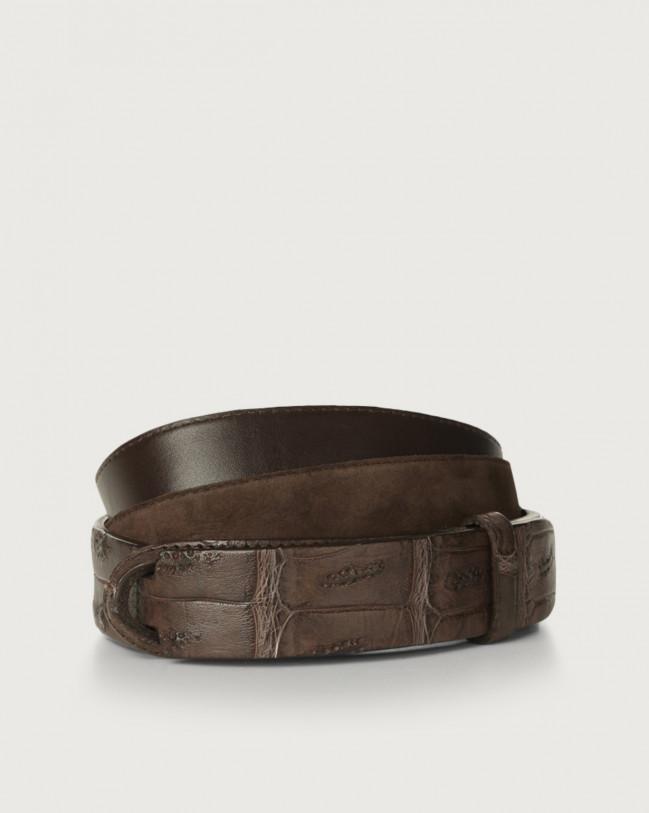 Orciani Camoscio cocco crocodile leather and suede Nobuckle belt Crocodile Leather, Suede Chocolate