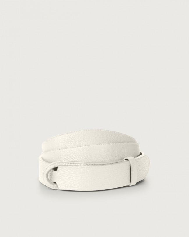 Orciani Micron leather Nobuckle belt Leather White