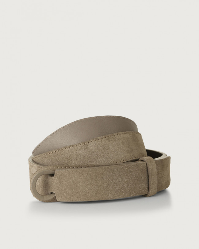 Orciani Suede Nobuckle belt Suede Taupe