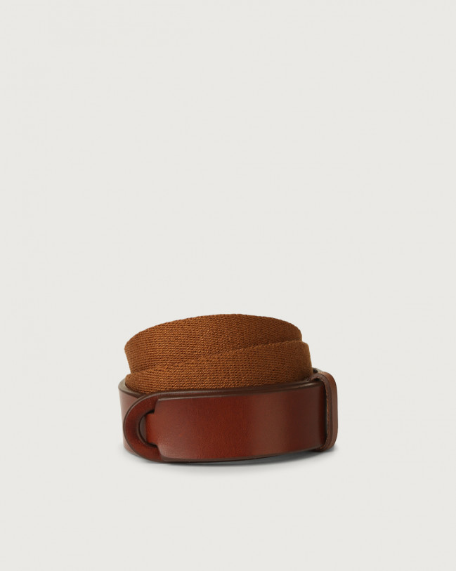 Orciani Bull leather and fabric Nobuckle Kids belt Leather & fabric Burnt