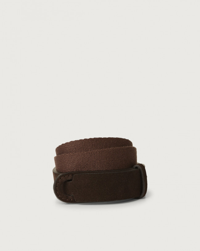 Orciani Suede and fabric Suede Nobuckle Kids belt Suede Chocolate