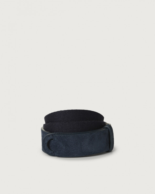 Orciani Suede and fabric Suede Nobuckle Kids belt Suede Blue