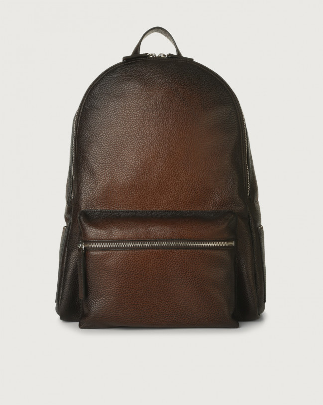 Orciani Micron Deep leather backpack Leather Burnt