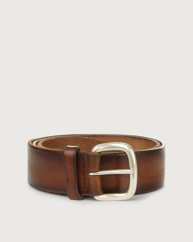 Orciani Buffer leather belt 4 cm Leather Cognac